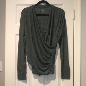 ATHLETA- Long Sleeve Wrap Blouse with Thumb Holes